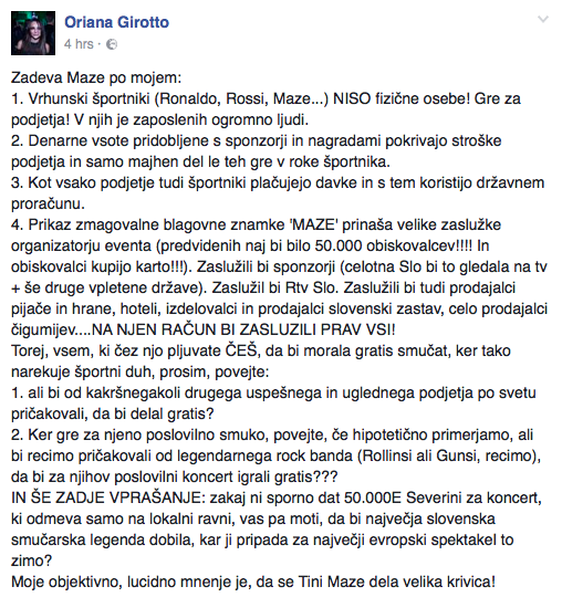 Oriana Girotto je zapisala, da je to le njeno osebno mnenje. Foto: facebook printscreen